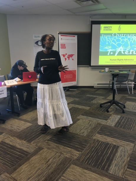 Louise Simbandumwe did a guest lecture on how to turn our passions for human rights into action!
