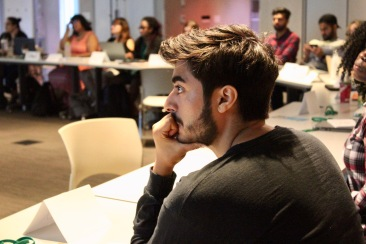 student listens while seated in CMHR classroom