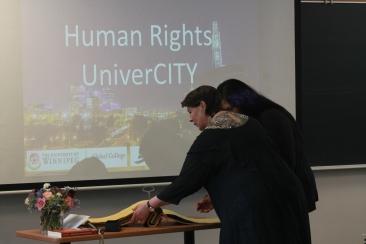 Senator McPhedran hold Global College Registrar for student