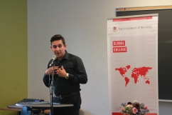 Jorge Requena Ramos speaking to class about video production
