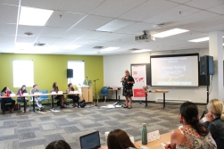 Bernadette Smith, MLA for Point Douglas speaks to class on first day