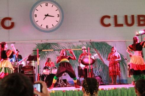Afro-Caribbean Pavilion dancer does limbo