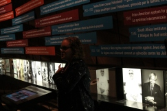 Interpreter Amber Parker discusses prominent figures in the What Are Human Rights Gallery