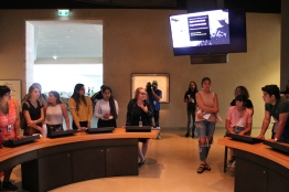 Students participate in interactive game in the Protecting Rights in Canada gallery