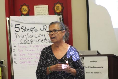Elder Leslie Spillett speaks to 2018 class at Ka Ni Kanichihk
