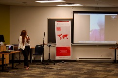 Katrina Leclerc, program coordinator for the GNWP facilitates a Skype call with program participants from the DRC
