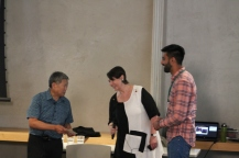 Student gives thank-you to Dr. Art Miki for lecture
