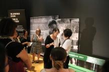 Senator McPhedran and Isabelle Masson, exhibit curator, speak in the Mandela: Struggle for Freedom exhibit