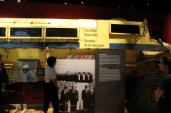 Exhibit curator, Isabelle Masson, explains display in the Mandela: Struggle for Freedom exhibit