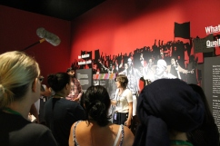 students look at Isabelle Masson in the Mandela: Struggle for Freedom exhibit