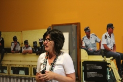 Isabelle Masson speaks to class in the Mandela: Struggle for Freedom exhibit