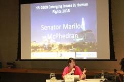 Senator McPhedran engage in discussion in CMHR classroom