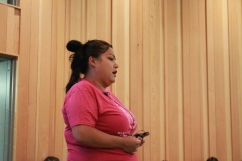 Youth Program Coordinator, Crystal Leach, speaks to class at Mawi Wi Chi Itata Centre