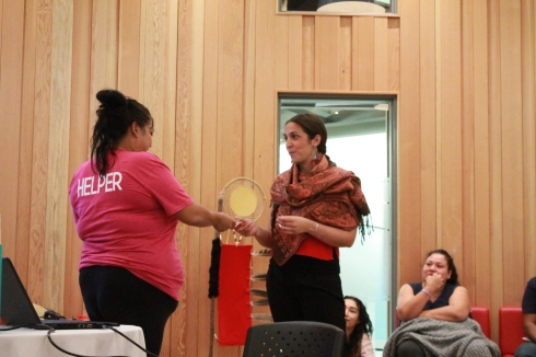 Youth Program Coordinator, Crystal Leach, receives thank-you at Mawi Wi Chi Itata Centre